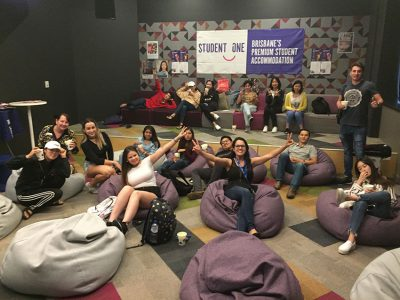 students in bean bags